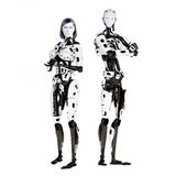 Female and male cyber robot Stock Photography