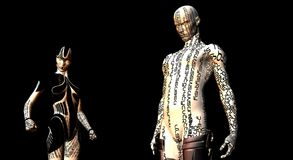 Female and male cyborg Royalty Free Stock Image