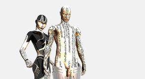 Female and male cyborg Royalty Free Stock Photo