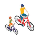 Female and male cyclists riding on a bicycle. Flat 3d isometric vector illustration. Flat 3d vector isometric illustration. Concept picture Royalty Free Stock Photo