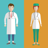 Female and male doctors. Illustration of a female and male doctors. Flat  illustration Stock Images