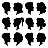 Female and Male faces silhouettes in vintage cameo style. Retro woman and man face profile portrait silhouette. People. Female and Male faces silhouettes in royalty free illustration