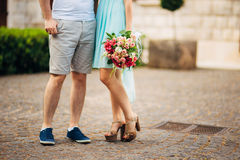 Female and male feet on grass Royalty Free Stock Photos