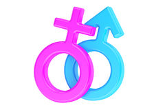 Female and male gender symbols, 3D rendering Royalty Free Stock Photo
