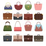 Female and male handbags. Fashion lady purse and bag accessories vector collection isolated. Leather handbag and accessory elegance illustration Royalty Free Stock Image