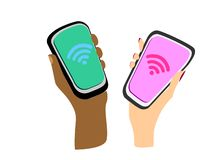 Female and male hands of different colors with smartphones, wifi signs on the screens. Flat design. Vector illustration stock illustration