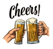 Female and male hands holding and clinking with two glasses beer Royalty Free Stock Photos