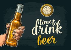 Female and male hands holding and clinking with two glasses beer and mulled wine. Female and male hands holding and clinking open beer bottles. Time to drink vector illustration