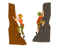 Female and male mountain climbers. Stock Photography