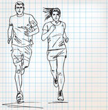 Female and male runner sketch illustration royalty free illustration