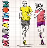 Female and male runner sketch illustration Royalty Free Stock Photos
