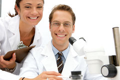 Female and Male Scientists Royalty Free Stock Photos