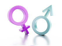 Female and male sign on white background. 3d illus Royalty Free Stock Photos