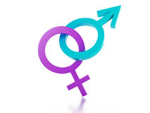 Female and male sign on white background. 3d illus Royalty Free Stock Images