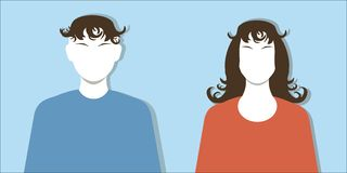 Female and male silhouettes face, red and blue clothing, black hairs on blue, vector Royalty Free Stock Photos