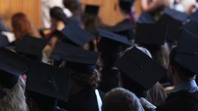 Female and male students graduating from university campus, red-letter day. Stock footage stock footage
