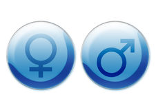 Female and male symbols. Computer generated feminine and male symbols over white background Royalty Free Stock Image