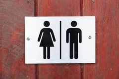 Female and male toilet sign stock image