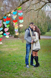 Female male Valentine's Day hug royalty free stock image