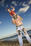 Female on man's shoulders. royalty free stock photo