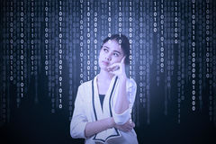 Female manager with binary code Stock Photography