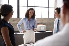 Female manager and business team in meeting, close up stock images