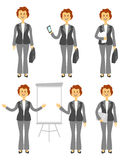 Female manager character or business woman set. Different poses isolated on white background. Woman in trousers. Cartoon Royalty Free Illustration