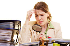 Female manager checking contracts Royalty Free Stock Images