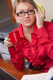 Female manager with coffee cup Stock Photography
