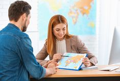 Female manager consulting client stock image
