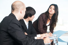 Female manager with her partners Stock Images