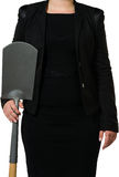 Female manager holding spade Stock Photo