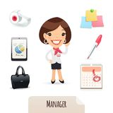 Female Manager Icons Set. In the EPS file, each element is grouped separately. Isolated on white background. Clipping paths included in additional jpg format Royalty Free Stock Photography