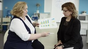 A female manager presents new project plan to colleagues at meeting, explaining ideas on flipchart to coworkers in. Office, businesswoman gives presentation stock video