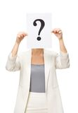 Female manager with question mark in front of face Stock Photos
