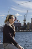 Female manager in the shipyard Stock Photography