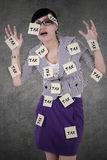 Female manager with tax reminders Stock Photos
