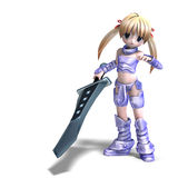Female manga paladin with huge sword. 3D rendering with clipping path and shadow over white Stock Photos