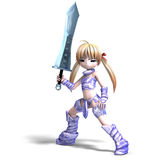 Female manga paladin with huge sword. 3D Stock Photos