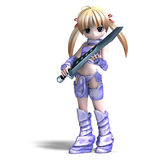 Female manga paladin with huge sword. 3D. Rendering with clipping path and shadow over white Stock Images