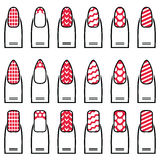 Female manicure  gel & hybrid  including shapes such as almond, square, rounded nails with plain nail polish, French manicure Royalty Free Stock Images