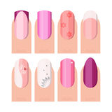 Female manicure set. French manicure style as icons set in color and flat style Royalty Free Stock Photo