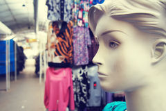 Female mannequin in the clothing market Stock Photos