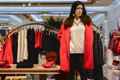 Female mannequin in clothing shop Stock Images