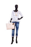 Female mannequin dressed in casual clothes. Isolated on white ba Royalty Free Stock Photo