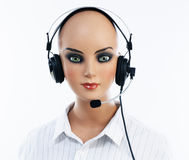 Female mannequin with headset Royalty Free Stock Photography