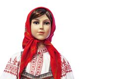 Female mannequin in national Russian costume on a white background royalty free stock photos