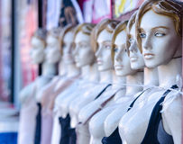 Female mannequins with cord around neck Royalty Free Stock Photo