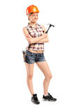 Female manual worker posing Royalty Free Stock Images