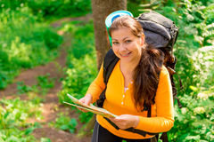 Female with map and backpack. Smiling Stock Photo